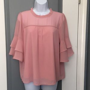 NWOT Beautiful pink bell sleeve blouse